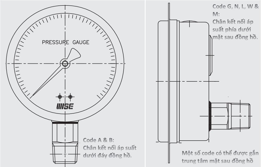 Đồng hồ áp suất P228 - 2