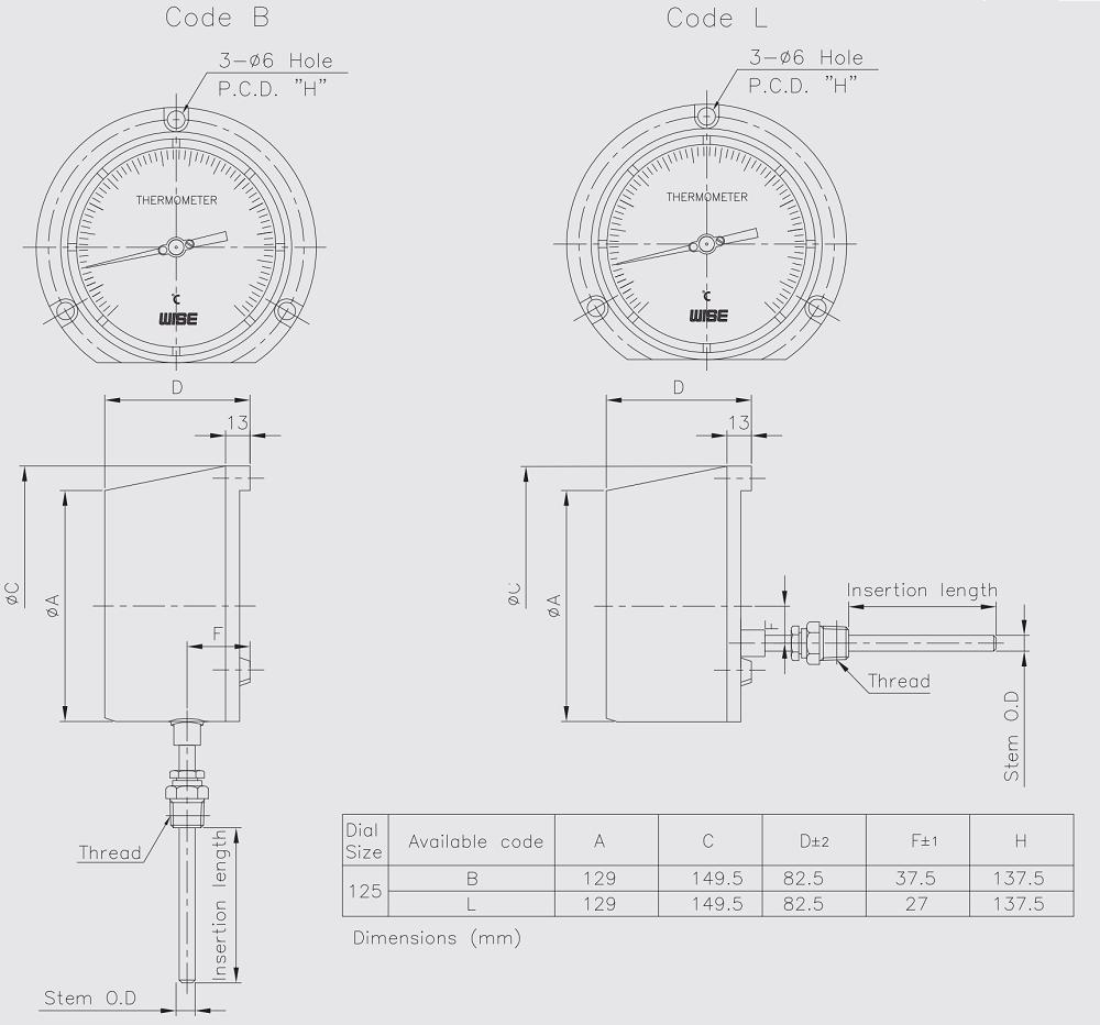 kích thước đồng hồ đo nhiệt độ T359